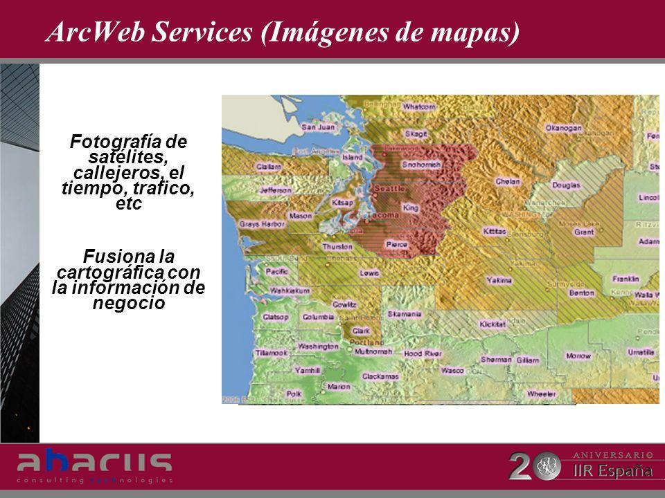 ArcWeb Services (Imágenes de mapas) Fotografía de satélites, callejeros, el tiempo, trafico, etc Fusiona la cartográfica con la información de negocio