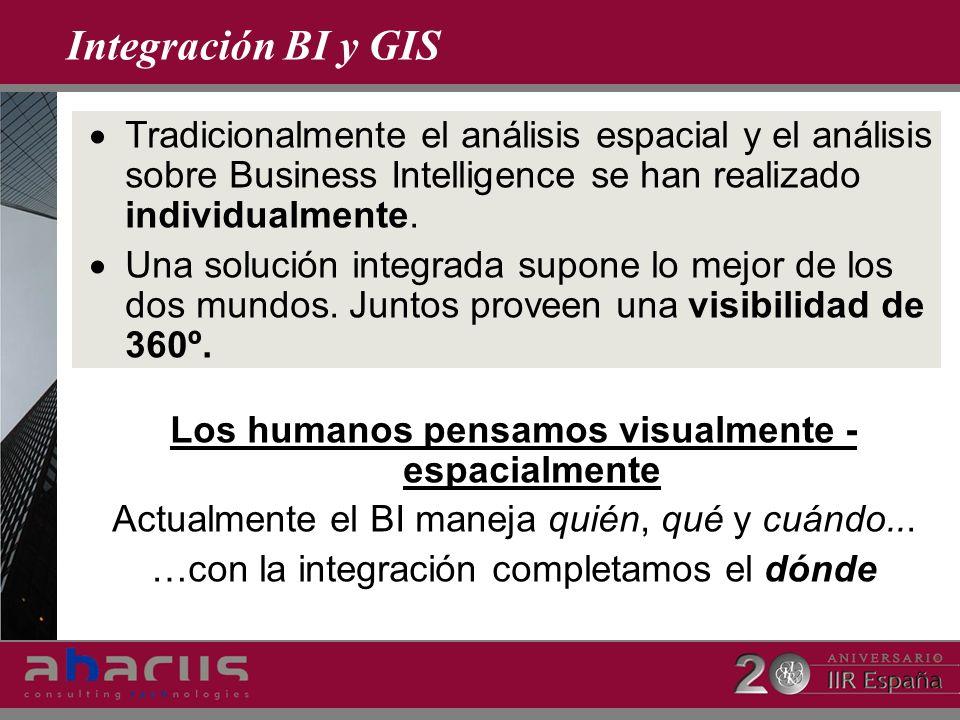 Integración BI y GIS Tradicionalmente el análisis espacial y el análisis sobre Business Intelligence se han realizado individualmente. Una solución in