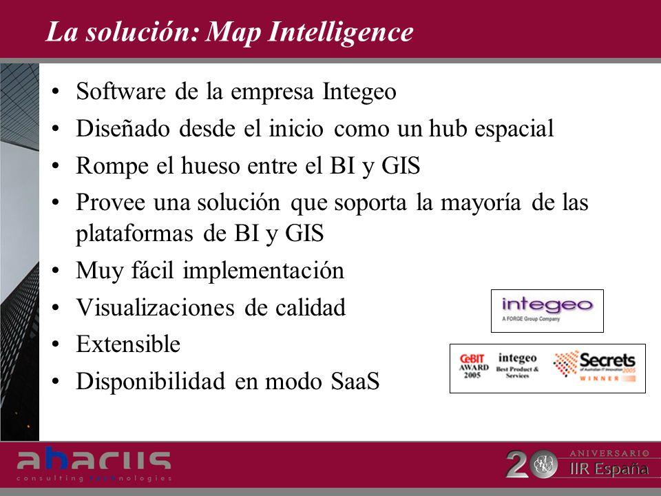 La solución: Map Intelligence Software de la empresa Integeo Diseñado desde el inicio como un hub espacial Rompe el hueso entre el BI y GIS Provee una