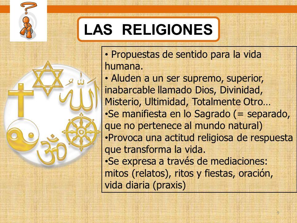 9 LAS RELIGIONES Propuestas de sentido para la vida humana. Aluden a un ser supremo, superior, inabarcable llamado Dios, Divinidad, Misterio, Ultimida