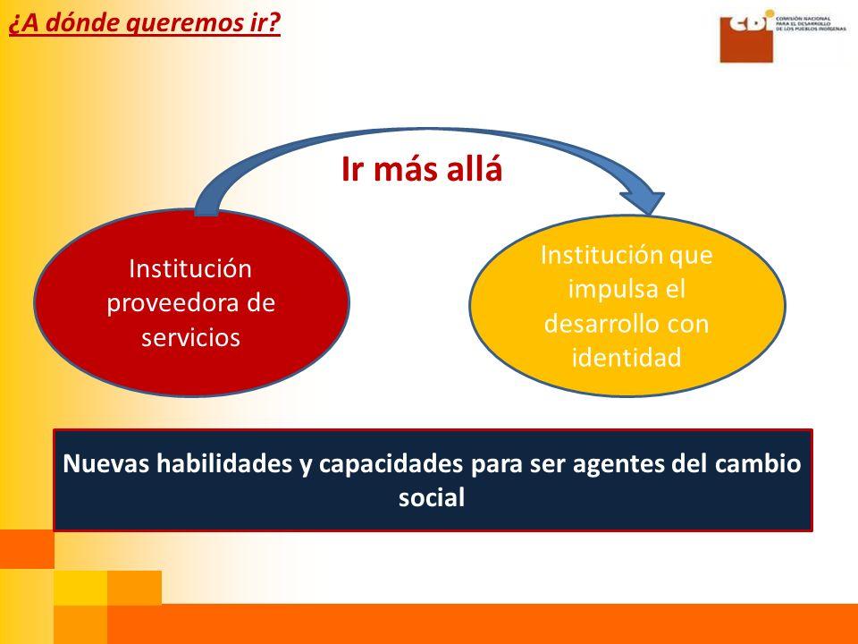 Ir más allá Institución que impulsa el desarrollo con identidad Institución proveedora de servicios Nuevas habilidades y capacidades para ser agentes del cambio social ¿A dónde queremos ir