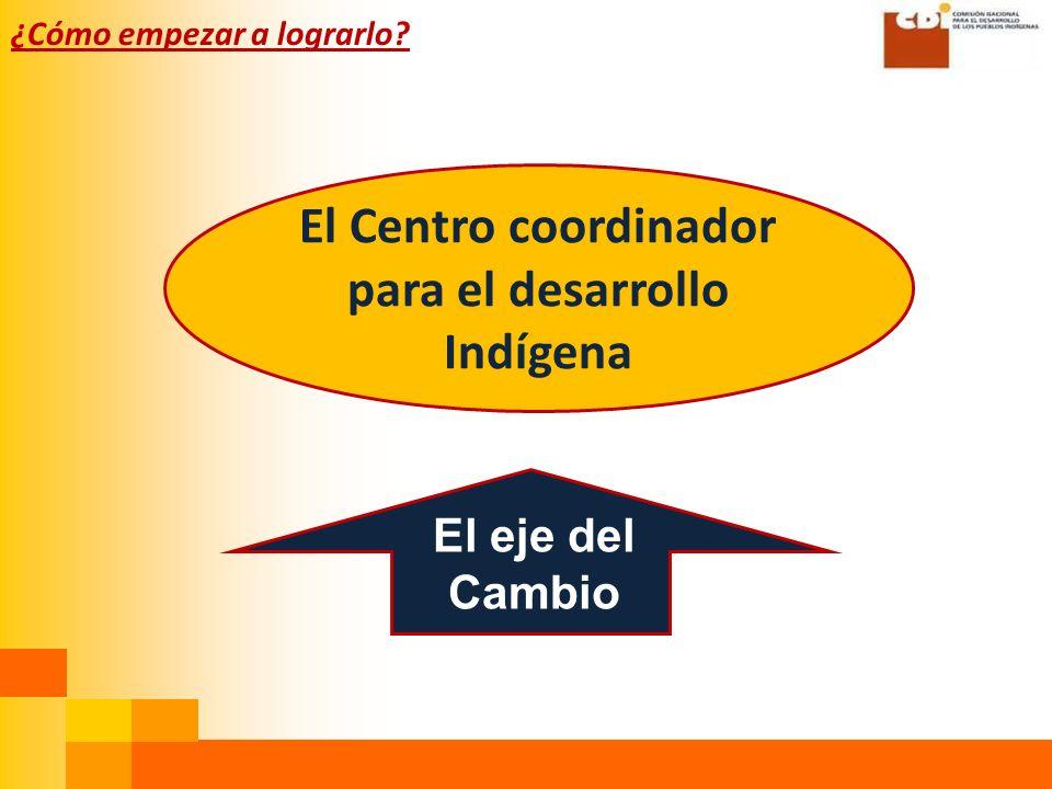¿Cómo empezar a lograrlo El Centro coordinador para el desarrollo Indígena El eje del Cambio