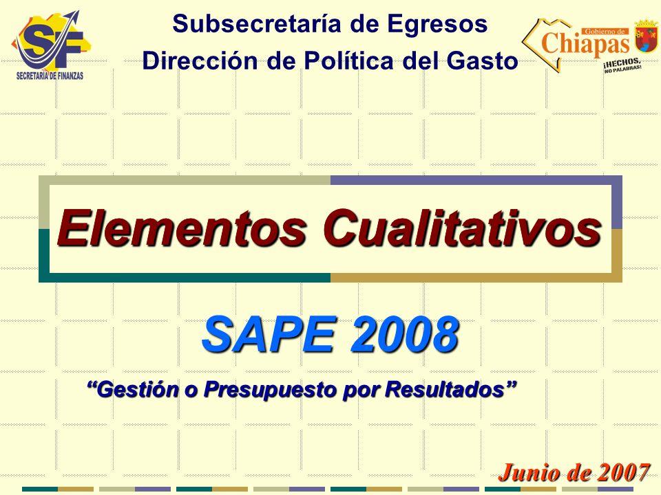 Elementos Cualitativos Subsecretaría de Egresos Dirección de Política del Gasto Junio de 2007 Gestión o Presupuesto por Resultados SAPE 2008 Elementos