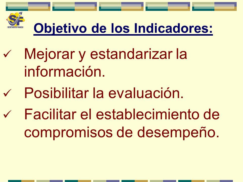 Objetivo de los Indicadores: Mejorar y estandarizar la información. Posibilitar la evaluación. Facilitar el establecimiento de compromisos de desempeñ
