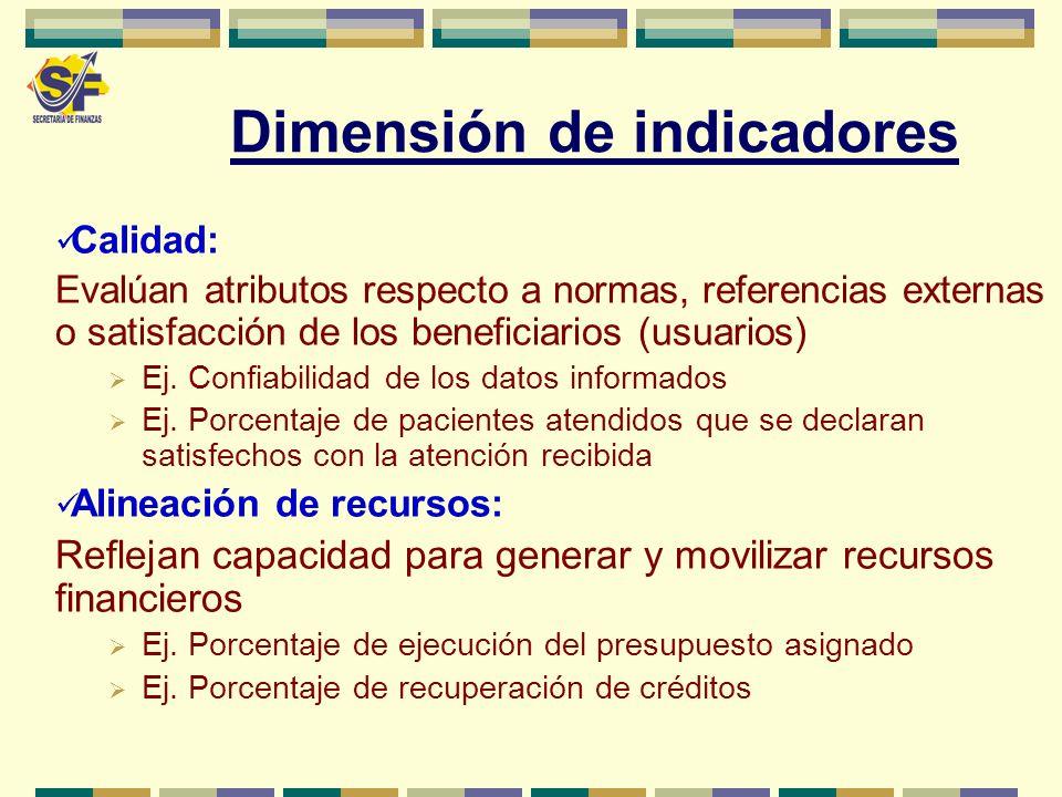 Calidad: Evalúan atributos respecto a normas, referencias externas o satisfacción de los beneficiarios (usuarios) Ej. Confiabilidad de los datos infor
