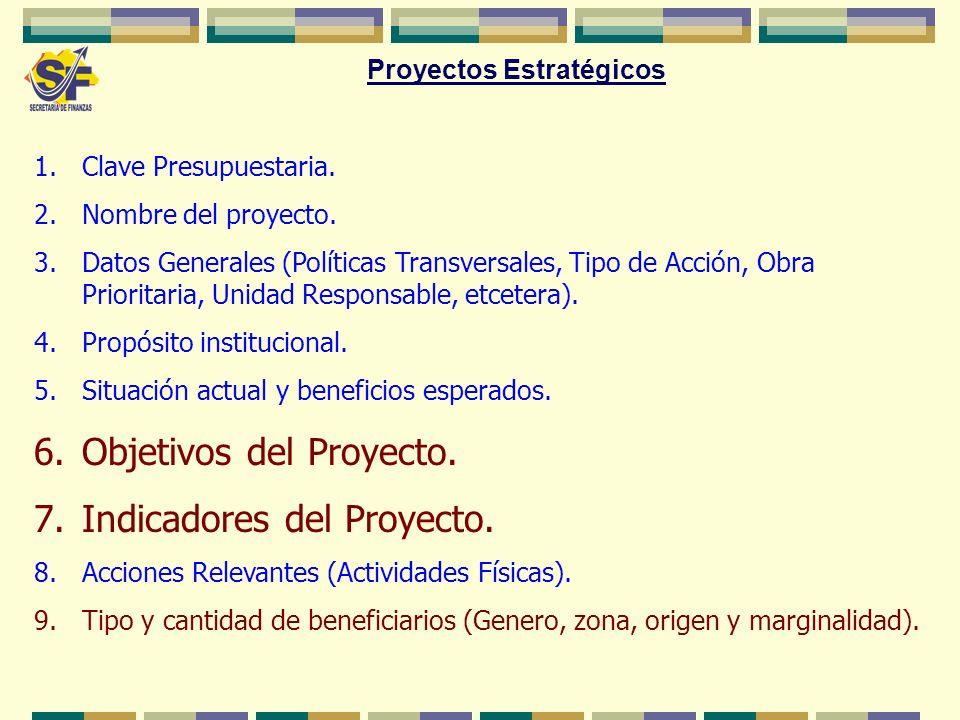 1.Clave Presupuestaria. 2.Nombre del proyecto. 3.Datos Generales (Políticas Transversales, Tipo de Acción, Obra Prioritaria, Unidad Responsable, etcet