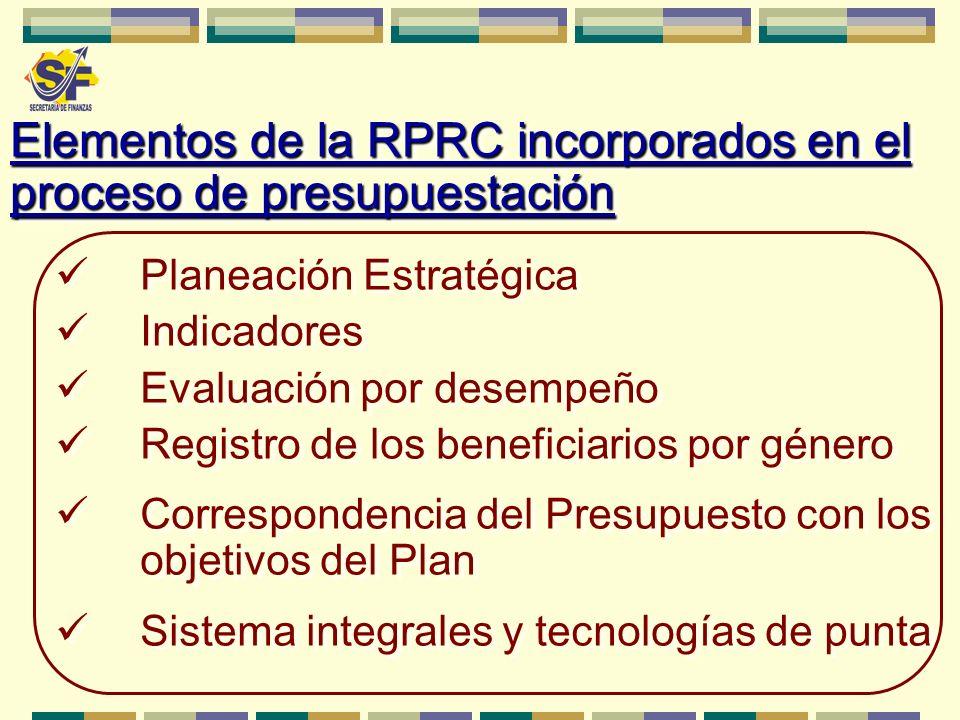 Elementos de la RPRC incorporados en el proceso de presupuestación Planeación Estratégica Indicadores Evaluación por desempeño Registro de los benefic