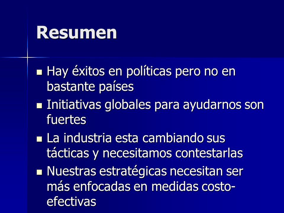 Resumen Hay éxitos en políticas pero no en bastante países Hay éxitos en políticas pero no en bastante países Initiativas globales para ayudarnos son