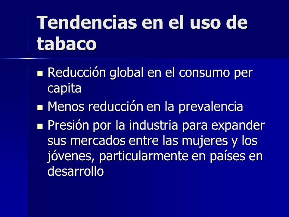 Tendencias en el uso de tabaco Reducción global en el consumo per capita Reducción global en el consumo per capita Menos reducción en la prevalencia M