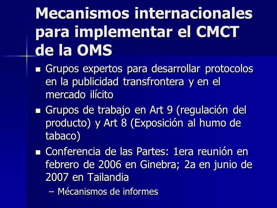 Mecanismos internacionales para implementar el CMCT de la OMS Grupos expertos para desarrollar protocolos en la publicidad transfrontera y en el mercado ilícito Grupos expertos para desarrollar protocolos en la publicidad transfrontera y en el mercado ilícito Grupos de trabajo en Art 9 (regulación del producto) y Art 8 (Exposición al humo de tabaco) Grupos de trabajo en Art 9 (regulación del producto) y Art 8 (Exposición al humo de tabaco) Conferencia de las Partes: 1era reunión en febrero de 2006 en Ginebra; 2a en junio de 2007 en Tailandia Conferencia de las Partes: 1era reunión en febrero de 2006 en Ginebra; 2a en junio de 2007 en Tailandia –Mécanismos de informes