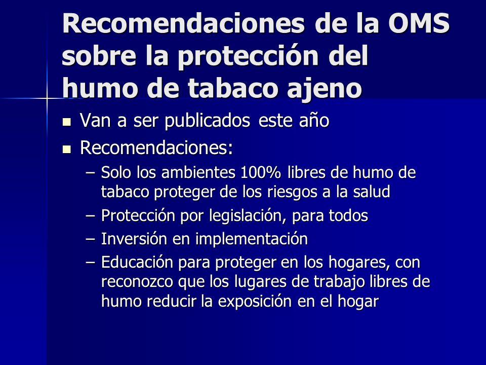 Recomendaciones de la OMS sobre la protección del humo de tabaco ajeno Van a ser publicados este año Van a ser publicados este año Recomendaciones: Re
