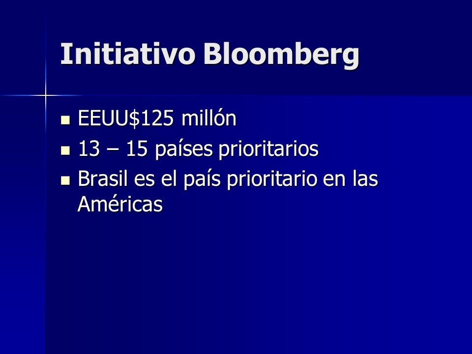 Initiativo Bloomberg EEUU$125 millón EEUU$125 millón 13 – 15 países prioritarios 13 – 15 países prioritarios Brasil es el país prioritario en las Amér