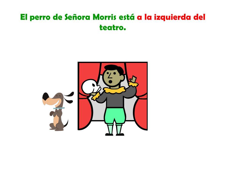 El perro de Señora Morris está a la derecha de la biblioteca.