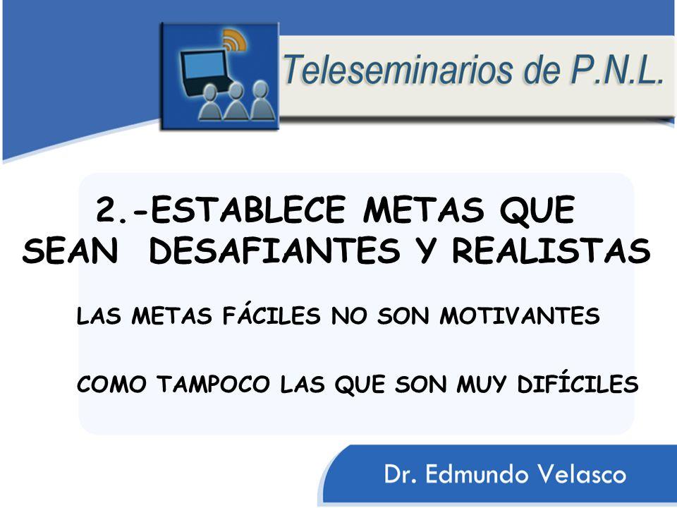 2.-ESTABLECE METAS QUE SEAN DESAFIANTES Y REALISTAS LAS METAS FÁCILES NO SON MOTIVANTES COMO TAMPOCO LAS QUE SON MUY DIFÍCILES