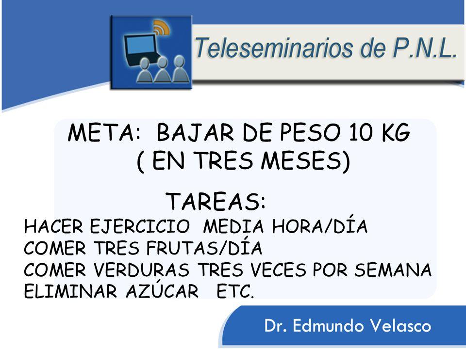 TAREAS: HACER EJERCICIO MEDIA HORA/DÍA COMER TRES FRUTAS/DÍA COMER VERDURAS TRES VECES POR SEMANA ELIMINAR AZÚCAR ETC.