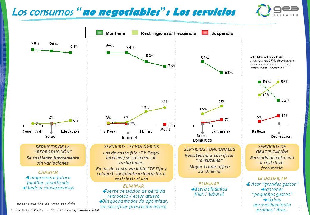 7 Base: usuarios de cada servicio SERVICIOS DE LA REPRODUCCIÓN Se sostienen fuertemente sin variaciones Salud Internet Móvil Serv.