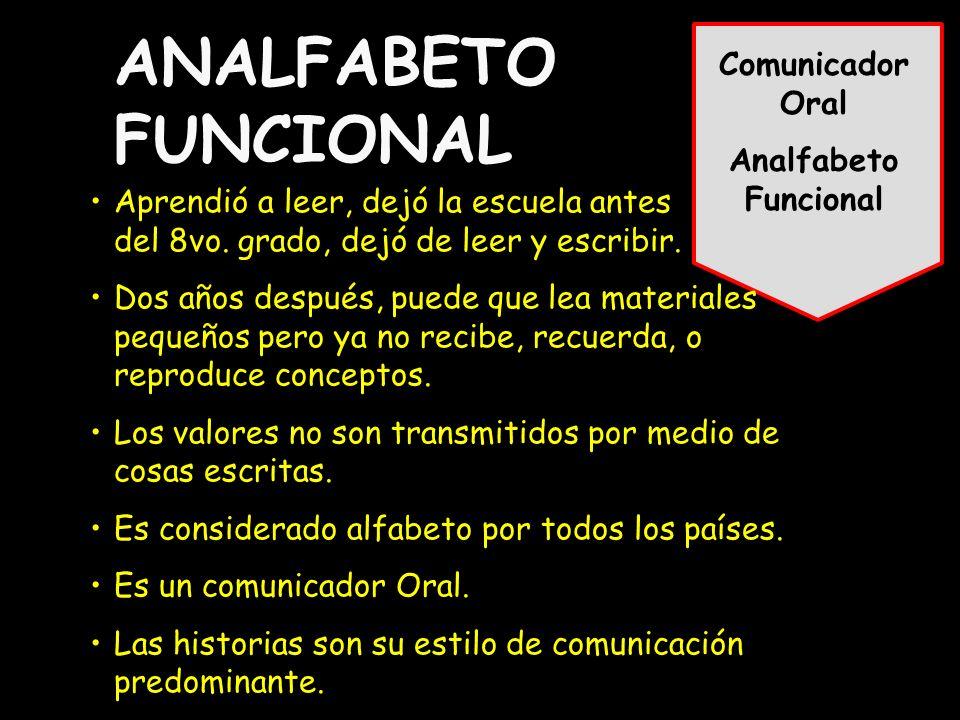 Comunicador Oral Analfabeto Funcional ANALFABETO FUNCIONAL Aprendió a leer, dejó la escuela antes del 8vo.