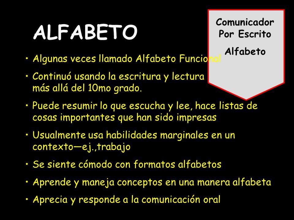 Comunicador Por Escrito Alfabeto ALFABETO Algunas veces llamado Alfabeto Funcional Continuó usando la escritura y lectura más allá del 10mo grado.