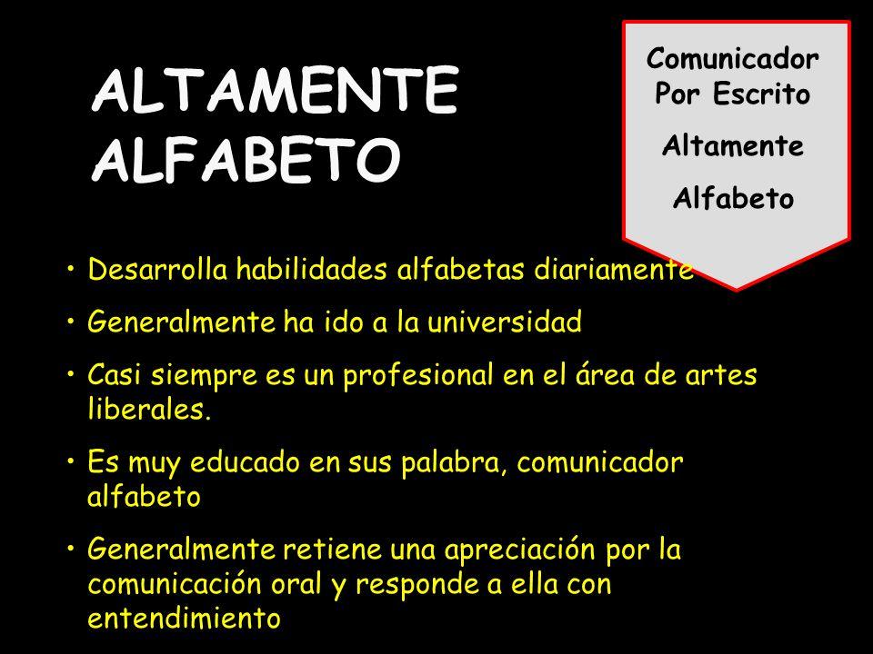 Comunicador Por Escrito Altamente Alfabeto ALTAMENTE ALFABETO Desarrolla habilidades alfabetas diariamente Generalmente ha ido a la universidad Casi siempre es un profesional en el área de artes liberales.