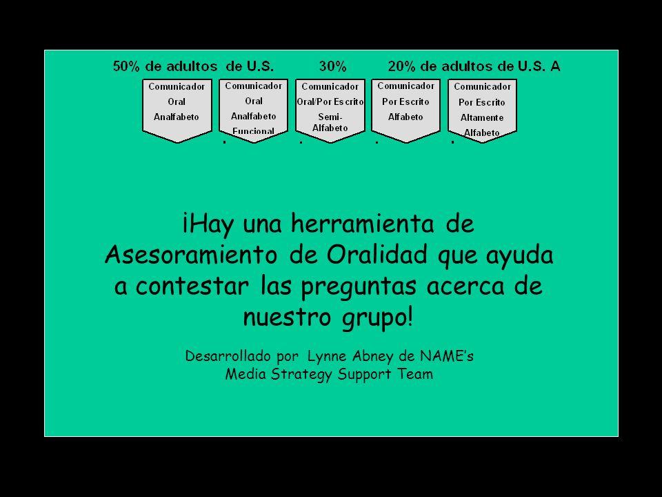 ¡Hay una herramienta de Asesoramiento de Oralidad que ayuda a contestar las preguntas acerca de nuestro grupo.