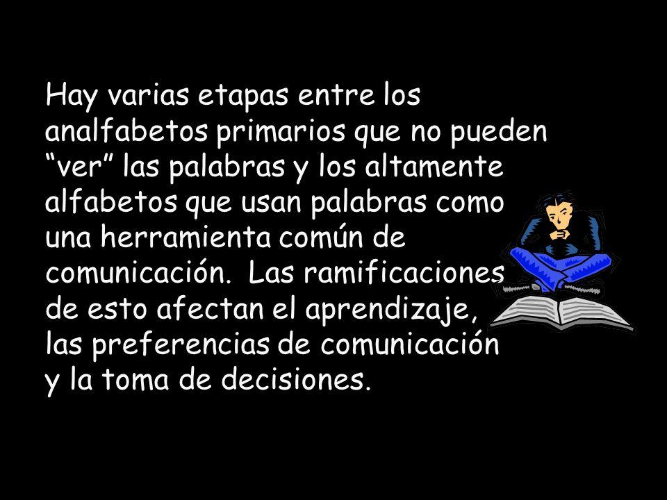 Cada etapa en el proceso desde el analfabetismo hasta el nivel de alfabetización alcanzado es significativamente diferente de las demás.