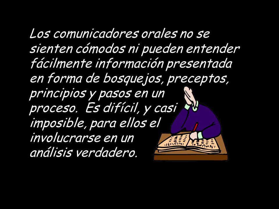 Los comunicadores orales no se sienten cómodos ni pueden entender fácilmente información presentada en forma de bosquejos, preceptos, principios y pasos en un proceso.