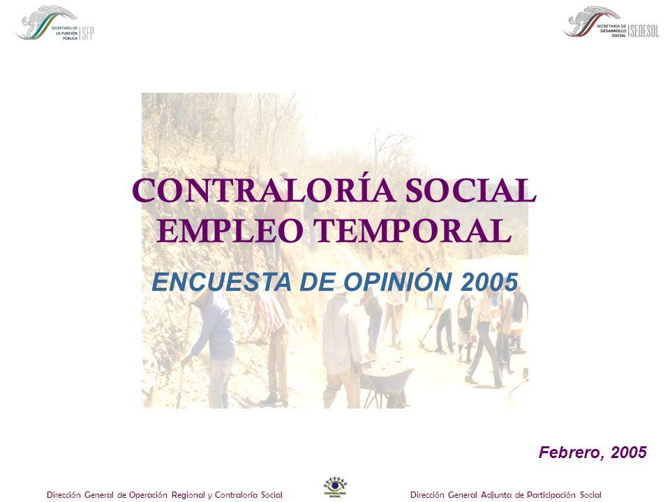 Dirección General de Operación Regional y Contraloría SocialDirección General Adjunta de Participación Social CONTRALORÍA SOCIAL EMPLEO TEMPORAL ENCUESTA DE OPINIÓN 2005 Febrero, 2005