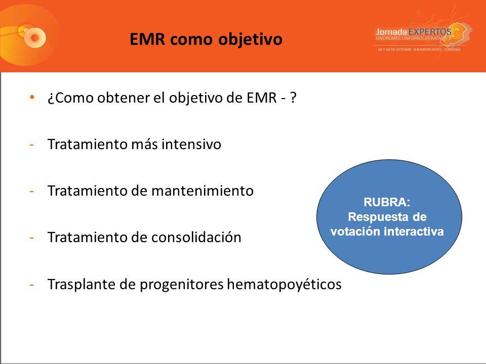 EMR como objetivo ¿Como obtener el objetivo de EMR - ? -Tratamiento más intensivo -Tratamiento de mantenimiento -Tratamiento de consolidación -Traspla