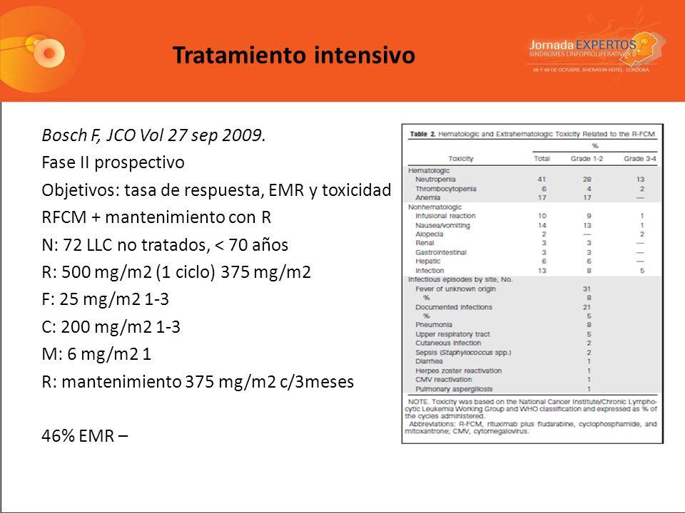 Tratamiento intensivo Bosch F, JCO Vol 27 sep 2009. Fase II prospectivo Objetivos: tasa de respuesta, EMR y toxicidad RFCM + mantenimiento con R N: 72