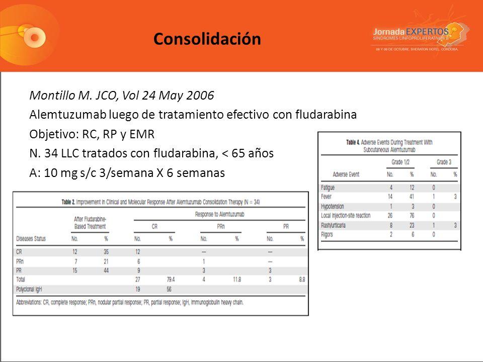 Montillo M. JCO, Vol 24 May 2006 Alemtuzumab luego de tratamiento efectivo con fludarabina Objetivo: RC, RP y EMR N. 34 LLC tratados con fludarabina,