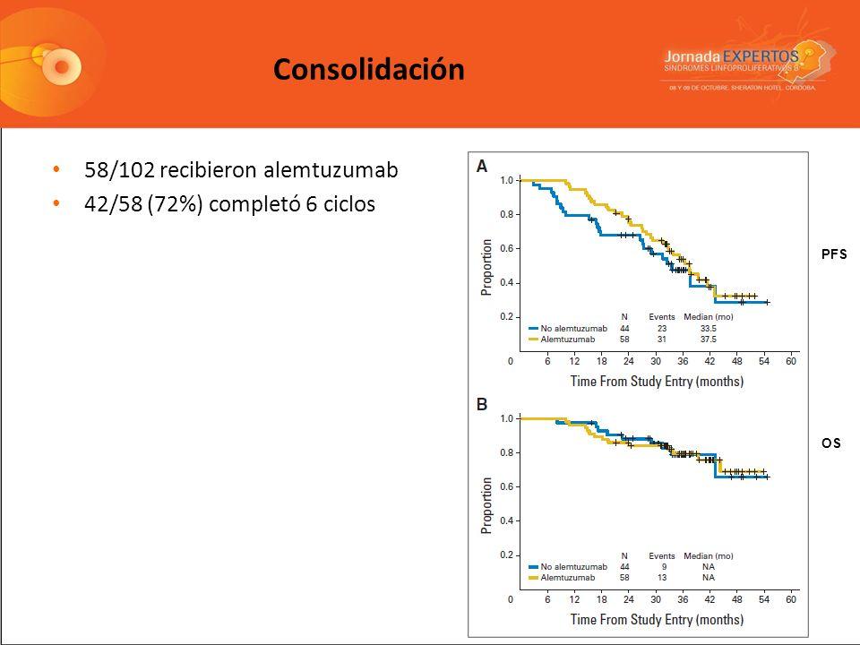 58/102 recibieron alemtuzumab 42/58 (72%) completó 6 ciclos PFS OS Consolidación