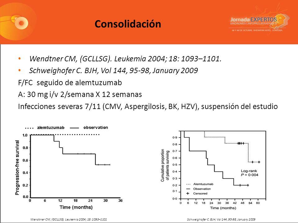 Wendtner CM, (GCLLSG). Leukemia 2004; 18: 1093–1101. Schweighofer C. BJH, Vol 144, 95-98, January 2009 F/FC seguido de alemtuzumab A: 30 mg i/v 2/sema
