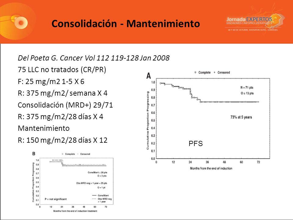 Del Poeta G. Cancer Vol 112 119-128 Jan 2008 75 LLC no tratados (CR/PR) F: 25 mg/m2 1-5 X 6 R: 375 mg/m2/ semana X 4 Consolidación (MRD+) 29/71 R: 375