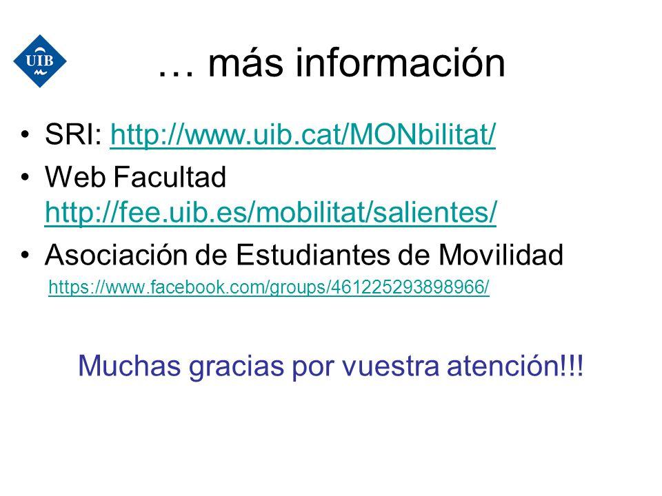 … más información SRI: http://www.uib.cat/MONbilitat/http://www.uib.cat/MONbilitat/ Web Facultad http://fee.uib.es/mobilitat/salientes/ http://fee.uib