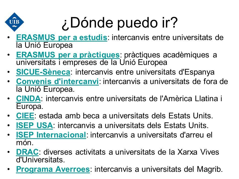 ¿Dónde puedo ir? ERASMUS per a estudis: intercanvis entre universitats de la Unió EuropeaERASMUS per a estudis ERASMUS per a pràctiques: pràctiques ac
