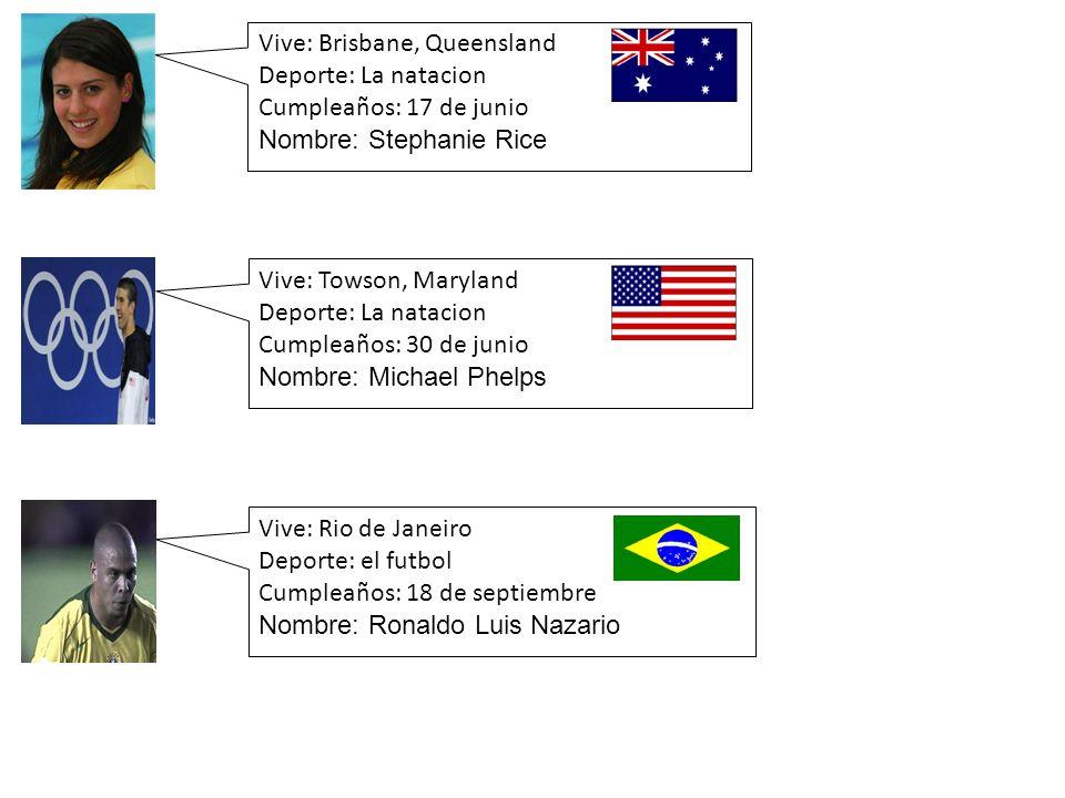 Vive: Brisbane, Queensland Deporte: La natacion Cumpleaños: 17 de junio Nombre: Stephanie Rice Vive: Rio de Janeiro Deporte: el futbol Cumpleaños: 18