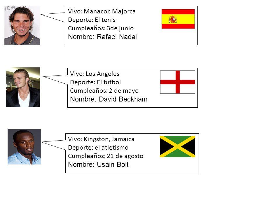 Vivo: Manacor, Majorca Deporte: El tenis Cumpleaños: 3de junio Nombre: Rafael Nadal Vivo: Kingston, Jamaica Deporte: el atletismo Cumpleaños: 21 de ag