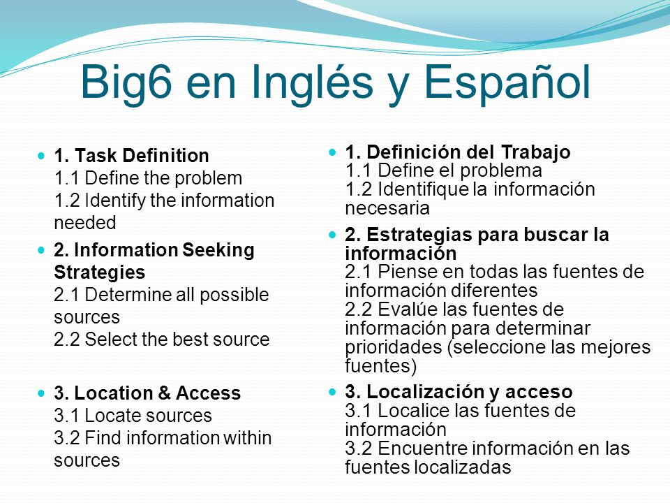 Big6 en Inglés y Español 1. Task Definition 1.1 Define the problem 1.2 Identify the information needed 2. Information Seeking Strategies 2.1 Determine