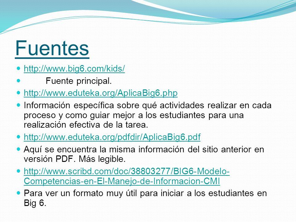 Fuentes http://www.big6.com/kids/ Fuente principal. http://www.eduteka.org/AplicaBig6.php Información específica sobre qué actividades realizar en cad