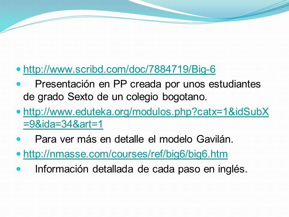 http://www.scribd.com/doc/7884719/Big-6 Presentación en PP creada por unos estudiantes de grado Sexto de un colegio bogotano. http://www.eduteka.org/m