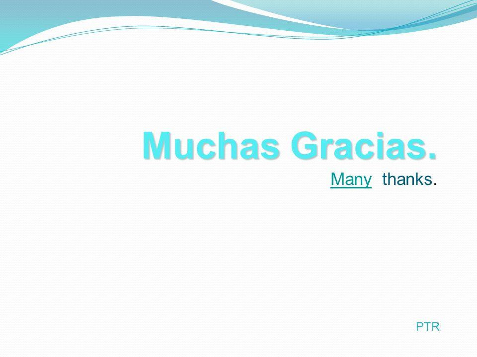 Muchas Gracias. ManyMany thanks. PTR