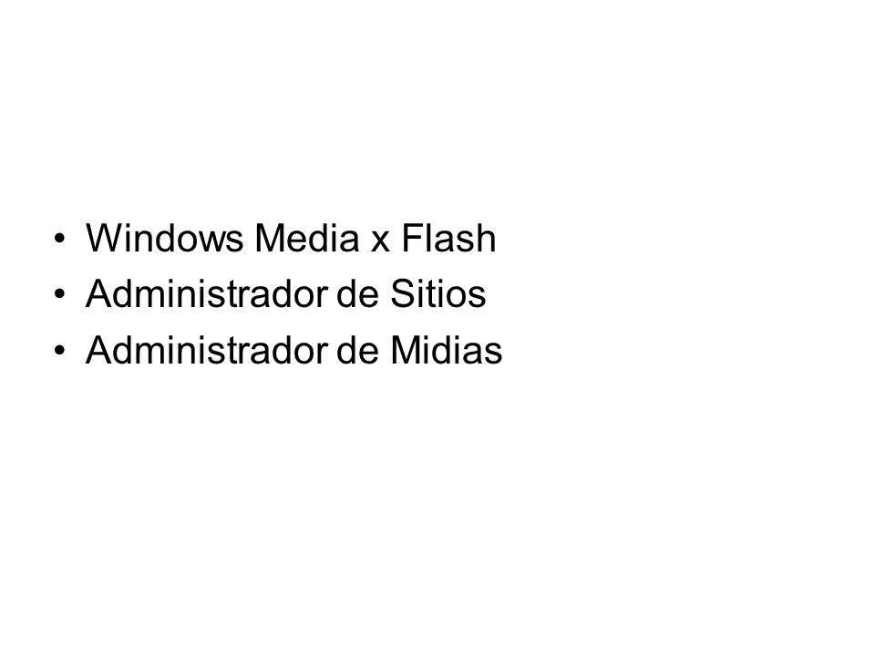 Windows Media x Flash Administrador de Sitios Administrador de Midias