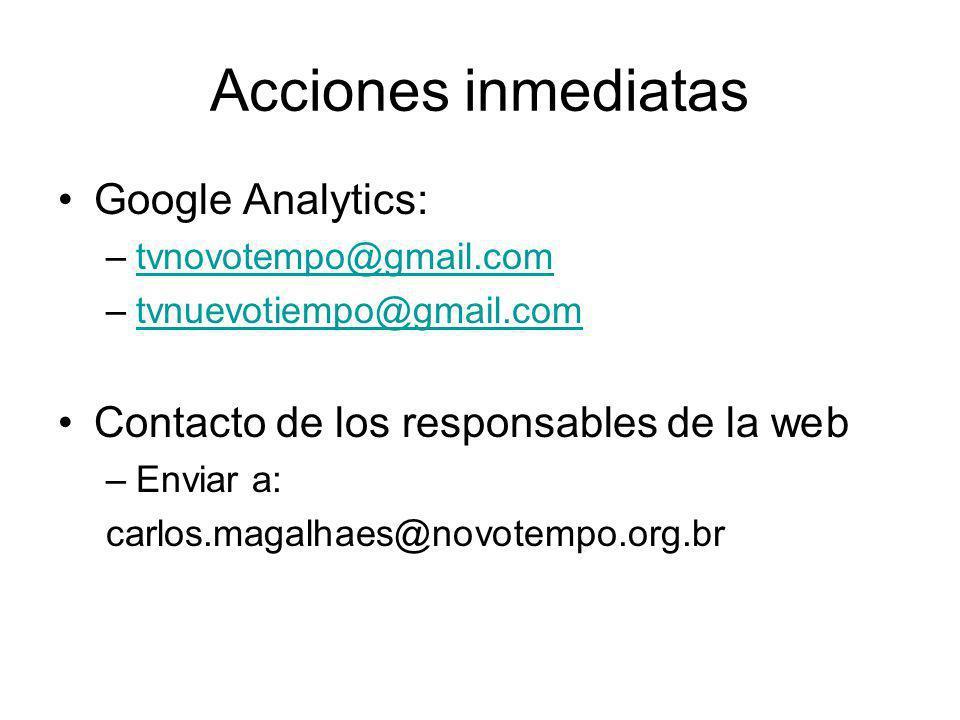 Acciones inmediatas Google Analytics: –tvnovotempo@gmail.comtvnovotempo@gmail.com –tvnuevotiempo@gmail.comtvnuevotiempo@gmail.com Contacto de los responsables de la web –Enviar a: carlos.magalhaes@novotempo.org.br