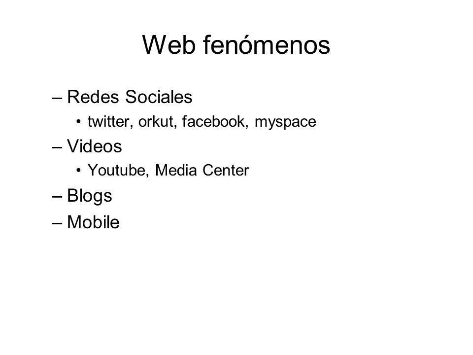 Web fenómenos –Redes Sociales twitter, orkut, facebook, myspace –Videos Youtube, Media Center –Blogs –Mobile