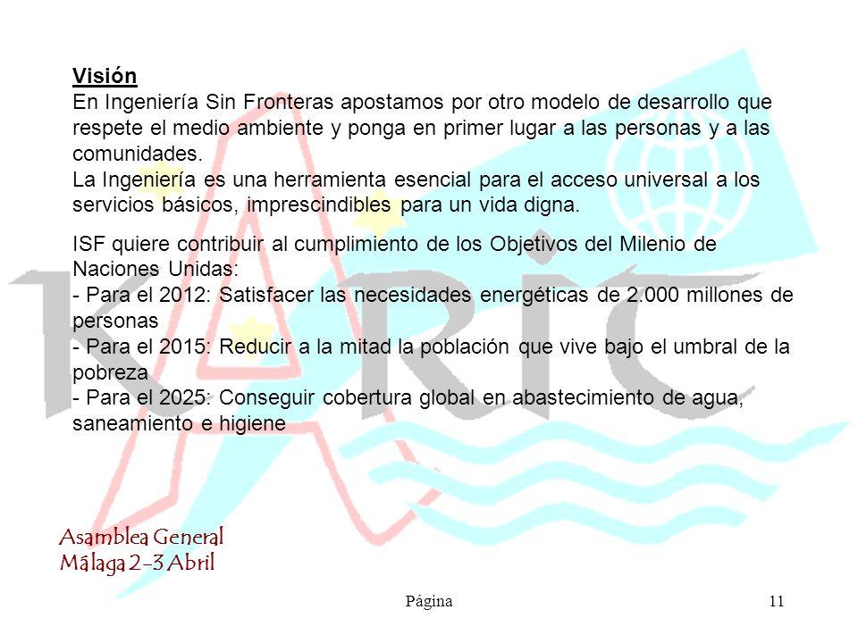 Asamblea General Málaga 2-3 Abril Página11 Visión En Ingeniería Sin Fronteras apostamos por otro modelo de desarrollo que respete el medio ambiente y ponga en primer lugar a las personas y a las comunidades.