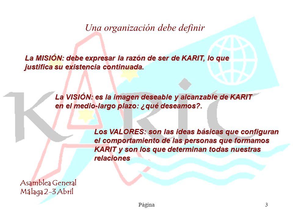 Asamblea General Málaga 2-3 Abril Página4 La MISIÓN responde a preguntas como: ¿Por qué existe nuestra ONG.