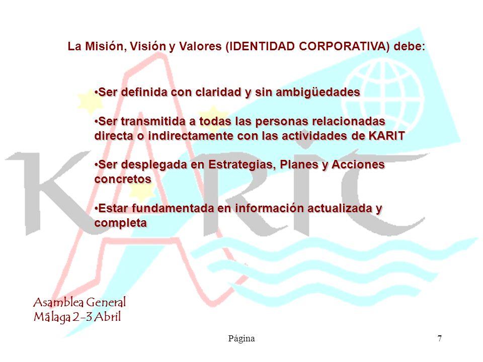 Asamblea General Málaga 2-3 Abril Página8 IDENTIDAD CORPORATIVA DE KARIT MISIÓN La razón de ser que justifica la existencia continuada de nuestra ONG se fundamenta en los siguientes principios: VISIÓN De acuerdo con los principios establecidos, nuestra ONG desea para los próximos 6 años conseguir : VALORES Los principios en los que se basa nuestra acción solidaria son: Respecto a las SOCIOS: Respecto a los VOLUNTARIOS Respecto a la ORDEN CARM.