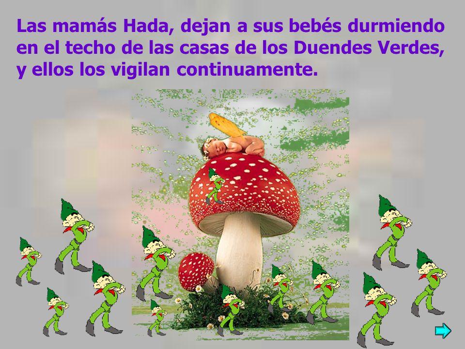 Las mamás Hada, dejan a sus bebés durmiendo en el techo de las casas de los Duendes Verdes, y ellos los vigilan continuamente.