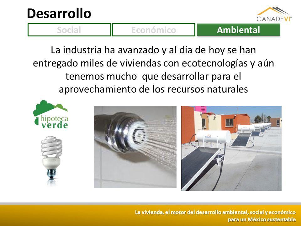 La vivienda, el motor del desarrollo ambiental, social y económico para un México sustentable Desarrollo SocialEconómico Ambiental La industria ha ava
