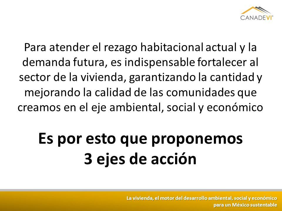La vivienda, el motor del desarrollo ambiental, social y económico para un México sustentable Para atender el rezago habitacional actual y la demanda